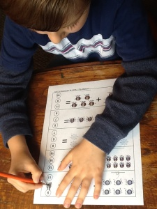 He really enjoyed using the addition printable!