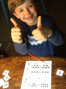 Thumbs up! He used this addition practice printable so many times that he had it he last problem memorized. Hence Thumbs Up!!:)